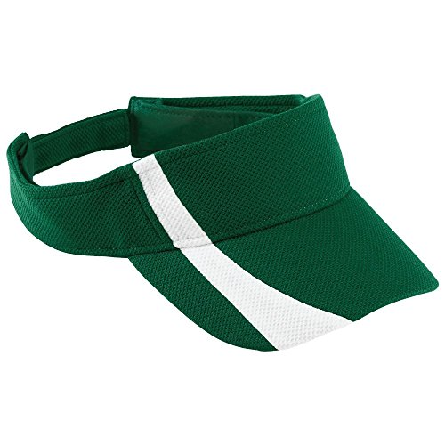 Augusta Activewear Adjustable Wicking Mesh Two-Color Visor, Dark Green/White, One Size