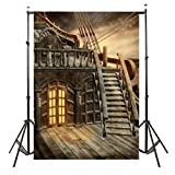 : Mohoo 5x7ft Pirate Ship Silk Photography Backdrop Studio Prop Background 1.5×2.1m (Updated material)