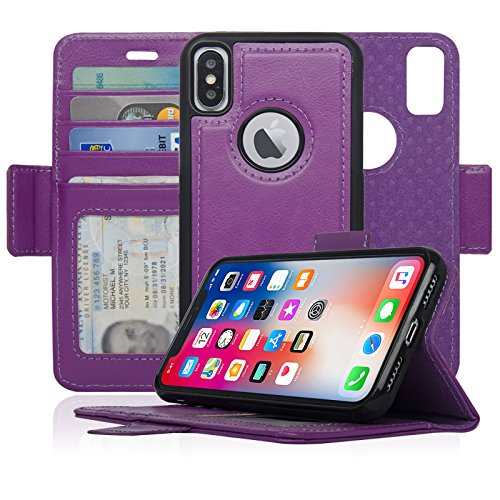 Navor Detachable Magnetic Wallet Case RFID Protection, Logo Hole, Compatible for iPhone Xs/X [Vajio Series]-Purple (IPXVJPP)