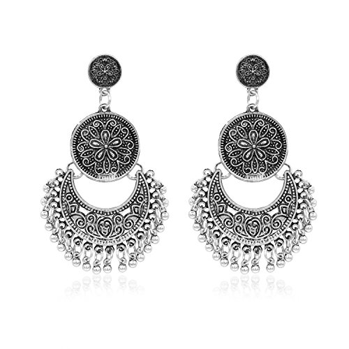 Hanloud Vintage Gypsy Bollywood Stud Earrings Retro Silver Jhumka Jhumki Earrings Chandelier Style Beads Drop Dangle Earrings