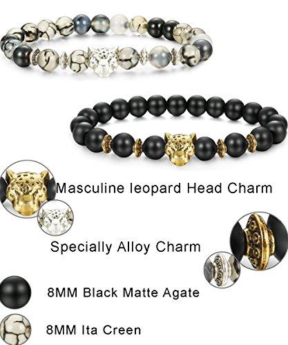 806e640987 LOLIAS 4 Pcs Lava Rock Bead Bracelet for Men Leopard Lion bracelet Set  Adjustable 8MM Beads