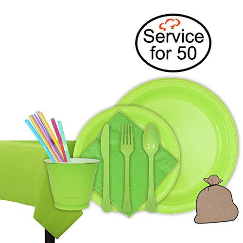 Tiger Chef Lime Green Party Supplies Set for 50, Includes Plastic Party Plates, Plastic Cups, Napkins, Disposable Cutlery, Table cover, Straws, and Garbage Bag - Complete Party Pack
