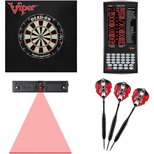 (Viper Dead ON SISAL Dartboard, PROSCORE, Defender II Backboard Mariah Steel TIP Darts)