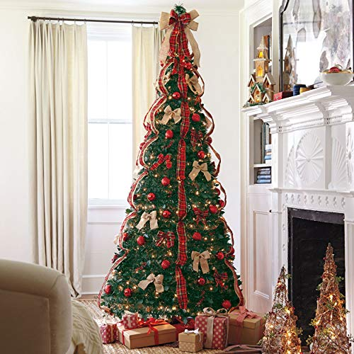 BrylaneHome Fully Decorated Pre-Lit 7 1/2' Pop-Up Christmas Tree, Plaid (Christmas All Ready Decorated Trees)