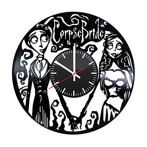 Corpse Bride Wall Clock - Emily and Victor Vinyl Record Handmade Present for Everyone - Wall Art Room Decor Handmade Decoration Party Supplies Theme Birthday Gift - Vintage and Modern Style]()