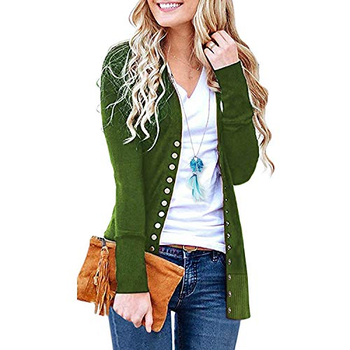 SATINATO Sweaters for Women,Cardigan Sweaters for Women, Long Sleeve Soft Basic Knit Solid Color Cardigan Sweater (Short-Olive, M)