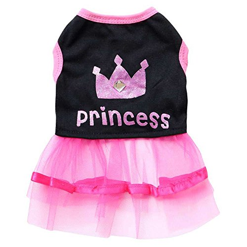 BBEART Pet Clothes, Sweet Small Dog Princess Dress Puppy Cat Lace Floral Border Skirt Tutu Cotton Clothing For Spring and Summer Apparel (S)