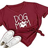 Women V-Neck Dog Mom Letters Print Tops Funny T-Shirt Casual Short Sleeve Blouse Size M (Red)