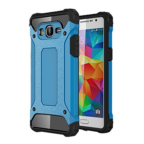 Shockproof Hybrid TPU Case for Samsung Galaxy Grand Prime (Black/Silver) - 9