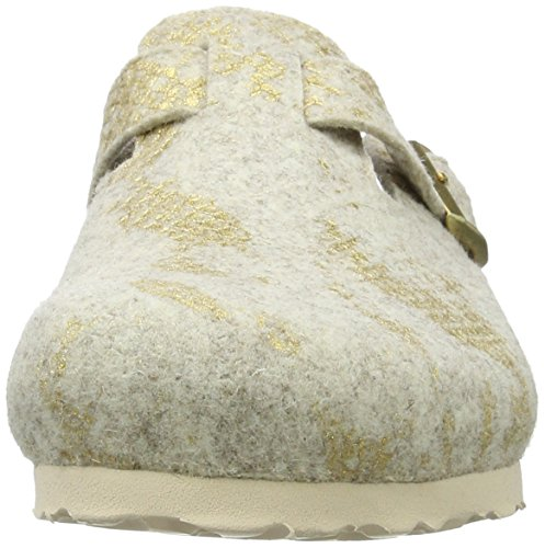 Beige Boston Felt Wollfilz Clogs Offwhite Damen Shiny Papillio wF16zqq