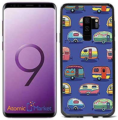 Vintage Camper Print On Blue For Samsung Galaxy S9 2018 Case Cover by Atomic Market