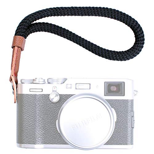 VKO Black Cotton Camera Hand Wrist Strap Compatible for Fujifilm X-T30 X-T3 X-T20 X-T2 X70 X-Pro2 X-E3 X30 XQ2 X100F A6100 A6600 A6400 A6000 A6300 A6500 A5100 RXIR II Cameras Adjustable Safety Strap