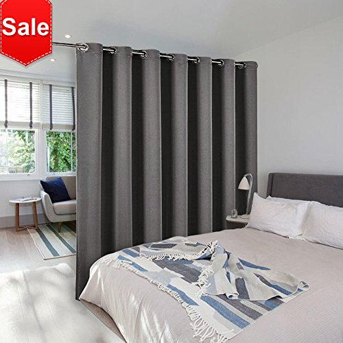 Room Divider Curtain Screen Partitions - NICETOWN Thermal Insulated Blackout Patio Door Curtain Panel, Sliding door curtains (Single Panel, 8.3ft Wide by 7ft Long Inches, Gray)