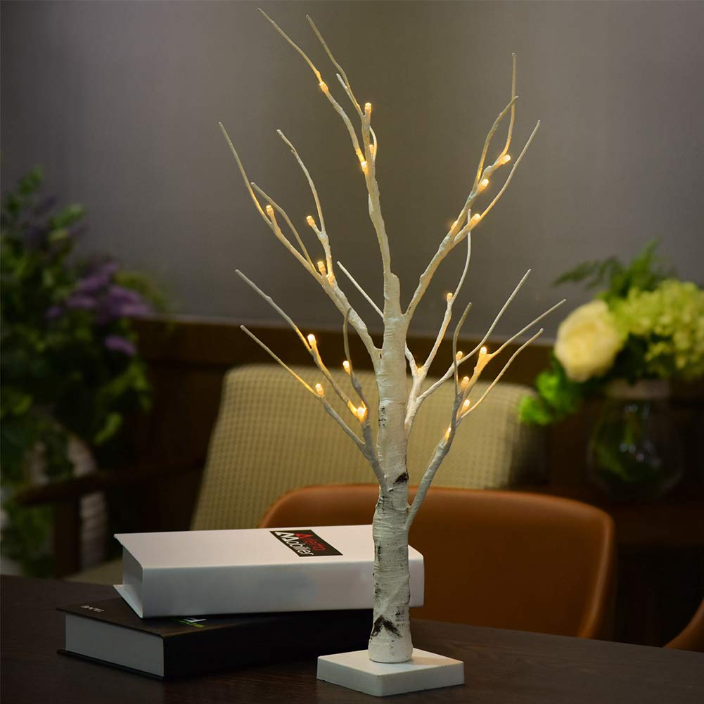 Onner Silver Birch Tree Lights, 24 LED 0.6M Height Durable Christmas White Branches Indoor Warm White LED Light Home Decoration Desk Lamp(Warm White)
