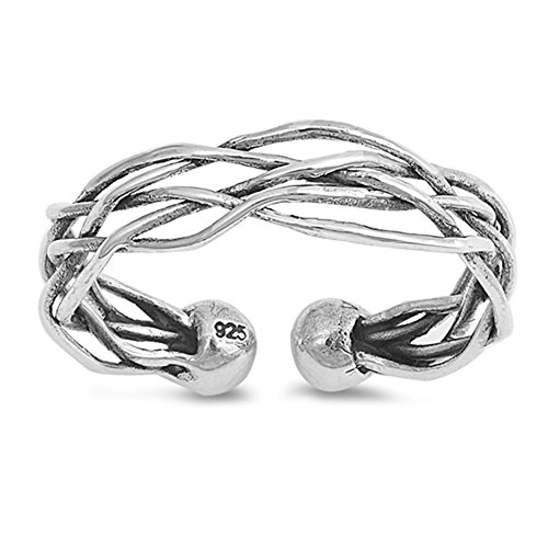 (Woven Criss Cross Wrap Thumb Ring New .925 Sterling Silver Band Size 10)