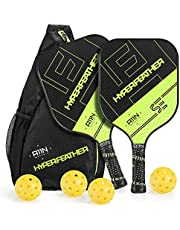 A11N HyperFeather SE Pickleball Paddles Set of 2 - USAPA Approved | 7.3OZ, Graphite Face & Polymer Core, Cushion Grip | 4 Outdoor Balls and 1 Sling Bag