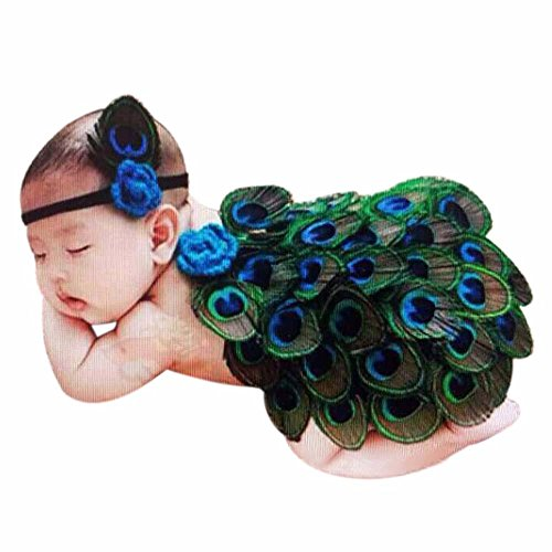 Newborn Photo Wraps, FTXJ Baby Girls Peacock Costume Photography Prop Outfits With Headband (Green)