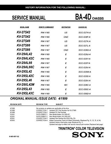(SONY TRINITRON COLOR TELEVISION CHASSIS BA-4D SERVICE MANUAL)