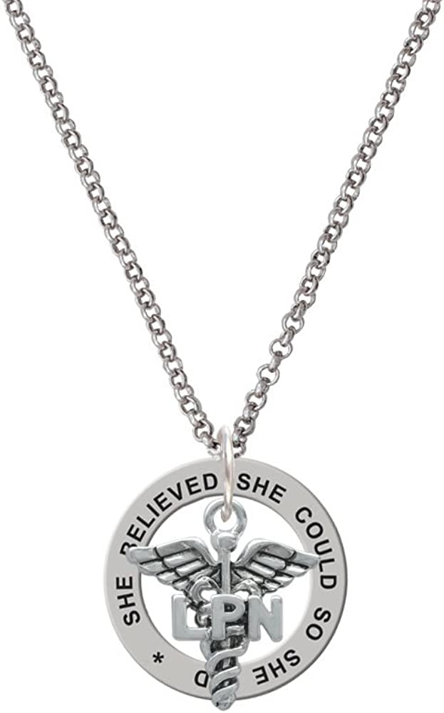 Working Women Rock Caduceus LPN She Believed She Could Affirmation Ring Necklace