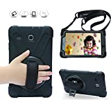 BRAECN Galaxy Tab E 8.0 Case, 360 Degree Rotation Stand/a Hand Strap and a Shoulder Strap Case [Shock Proof] Hybrid pc+Silicone Cover for Samsung Tab E 8''SM-T375 SM-T377 (Black)