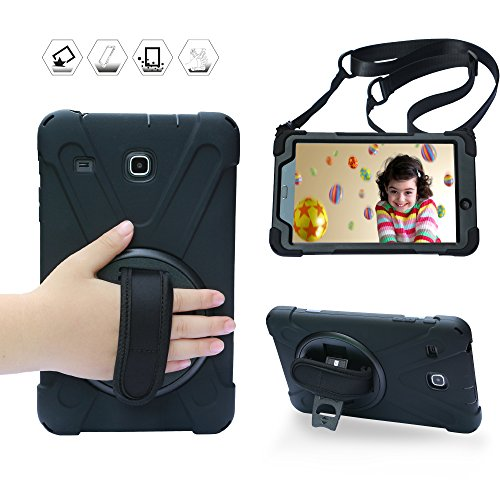 BRAECN Galaxy Tab E 8.0 Case,360 Degree Rotation Stand/Hand Strap and Shoulder Strap Case [Shock Proof] Hybrid pc+Silicone Cover for Samsung Tab E 8 SM-T375/ SM-T377/ SM-T378 (Black)