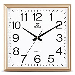 CLOCKZHJI Wall Clock, Silent Non Ticking Quality Quartz Battery Operated 14 Inch/35.5 Cm Square Easy to Read Home/Office/School Clock (Color : Gold)