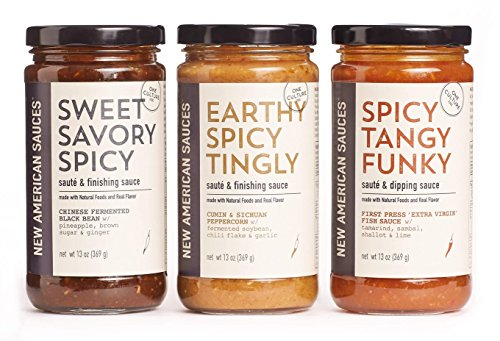 Set of 3 Premium Natural Asian Inspired Sauces - Sweet Savory Spicy - Earthy Spicy Tingly - Spicy Tangy Funky - Natural, GMO Free - One Culture - Lemon Stir Chicken Fry