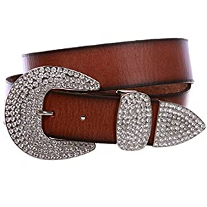 Women's Solid Real Leather Belt with Western Rhinestone Buckle 3-piece set