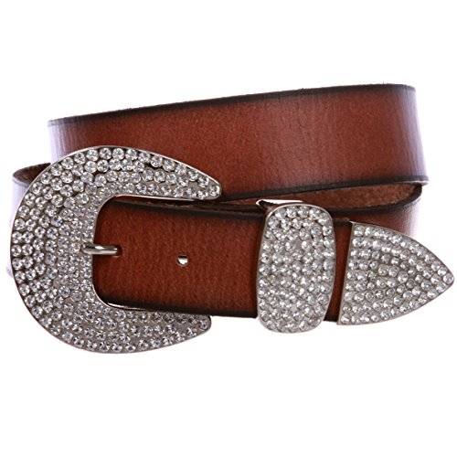 Women's Solid Real Leather Belt with Western Rhinestone Buckle 3-piece set, Brown | 28