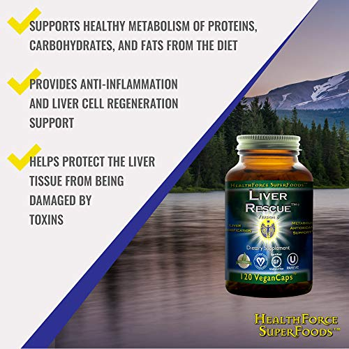 HealthForce SuperFoods Liver Rescue (2 Pack) - 120 Vegan Capsules - All Natural Liver Detoxifier with Milk Thistle & Dandelion Root - Organic, Gluten Free - 120 Total Servings by HEALTHFORCE SUPERFOODS (Image #2)