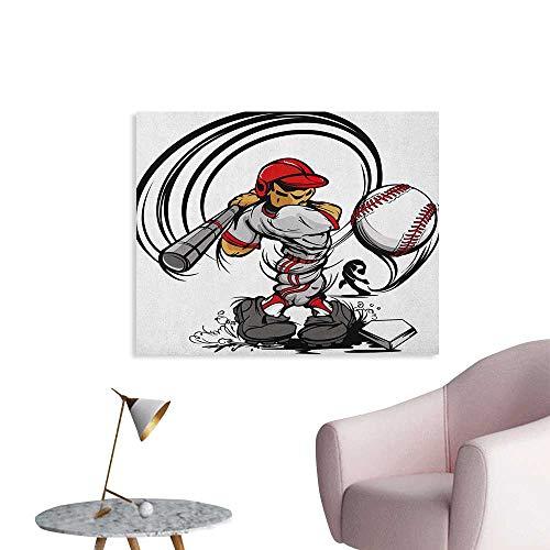 - Anzhutwelve Teen Room Wall Paper Baseball Cartoon Style Player Hitting The Ball Boys Kids Caricature Print Poster Print Grey Red White W48 xL32