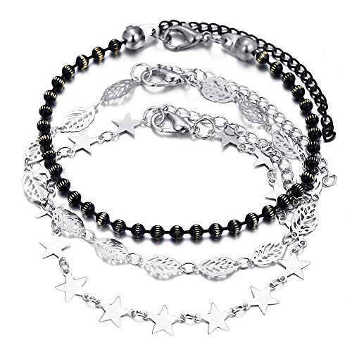 TOMLEE 3pcs/Set Silver Plated Black Beads Chain Anklets for Women Teengirls Bohemian Adjustable Ankle Bracelets with Extension Summer Foot Jewelry (Black)