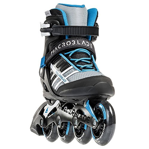 Rollerblade Macroblade 84 Womens Adult Fitness Inline Skate - White/Cyan Blue - 84 mm / 84A Wheels with SG7 Bearings - Performance Skates -US size 7.5, White/Cyan Blue, Size 7.5