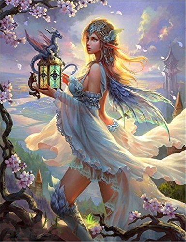 DIY 5D Diamond Painting by Number Kit Partial Drill Rhinestone Embroidery Arts Craft for Home Wall Decor Lantern Dragon Girl 11.81x15.75 inches