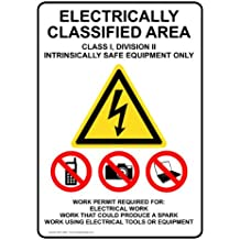 ComplianceSigns Plastic Electrical Warning Sign, 14 x 10 in. with English Text, White