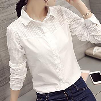XXIN algodón Camiseta Blanca Mujer Camiseta Long-Sleeved ...