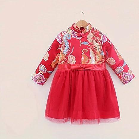 XIU*RONG Bebé Ropa De Vestir De Invierno Algodón Qipao Tangzhuang ...