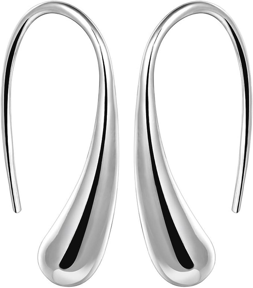 YAZILIND elegante joyer¨ªa de dise?o simple plata plateado gotas de agua aretes de oreja ganchos para las mujeres