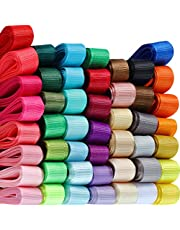 Ribbon for Crafts with Wire 48 Color Solid Grosgrain Ribbons Rainbow Fabric Ribbon