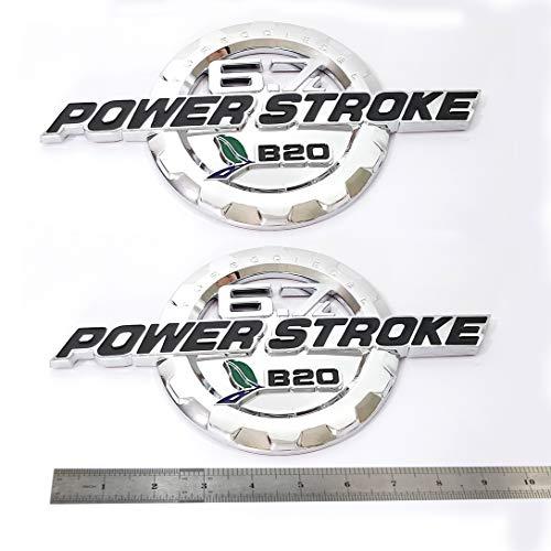 2pcs OEM 2011-2016 6.7L Powerstroke Turbo Diesel Door Emblem 3D Logo Power Stroke Badge Replacement for F250 F350 Chrome Black