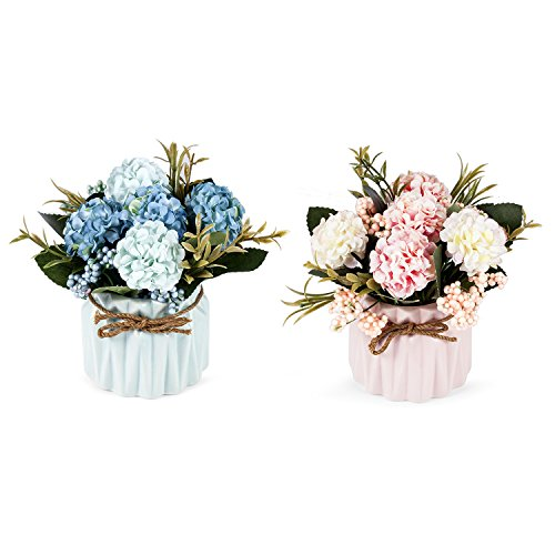 Set of 2 Louis Garden Artificial Mini Potted Plants Home Decoration (Hydrangea)