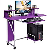 Rolling Computer Desk PC Laptop Desk Pull Out Tray Home Office Workstation New For Sale
