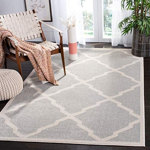 Safavieh Amherst Collection AMT421B Geometric Trellis Area Rug, 10 x 14 , Light Grey Beige