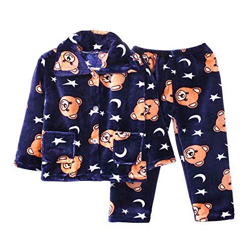 BLOSSOMLIFE Autumn Winter Flannel Cute Pajamas Set for Boys Children's Costumes Age 2-10 (4T, -