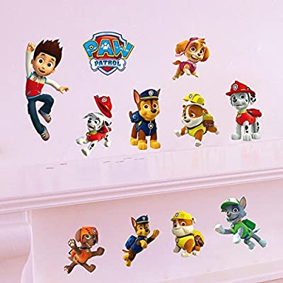 EasGear Paw Patrol Wall Decals Removable 3D Cartoon Vinyl Wall Stickers Waterproof for Kids Room Kindergarten Decor 12''x24''