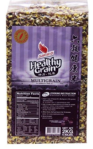 六榖健康米 Healthy Grain Multigrain Mixed Rice (red Cargo rice, brown rice, black sweet rice, Job's tear, Split Mung Beans, Sweet Cargo Rice) 4.4 lbs by Bell and Flower