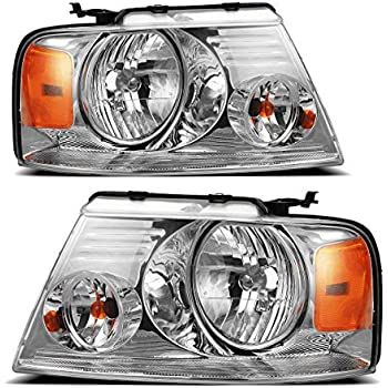 Replacement Headlight Assembly GFDPU04-A2 With Chrome Housing Amber Reflector Clear Lens for Ford F150 Pickup 2004-2008 HL-OH-F1504-CH-AM Driver and Passenger Side
