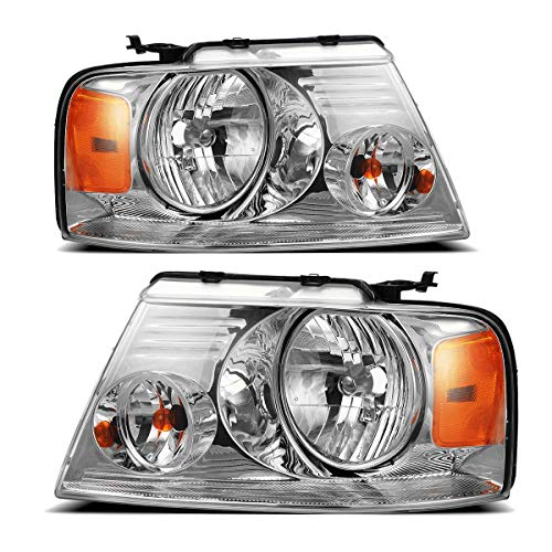 Partsam Headlight Assembly Replacement for Ford F150 04 05 06 07 08 Pickup, Compatible with Lincoln Mark LT 06 2007 2008, Driver and Passenger Side Pair Headlamps Amber Reflector FO2502201 FO2503201