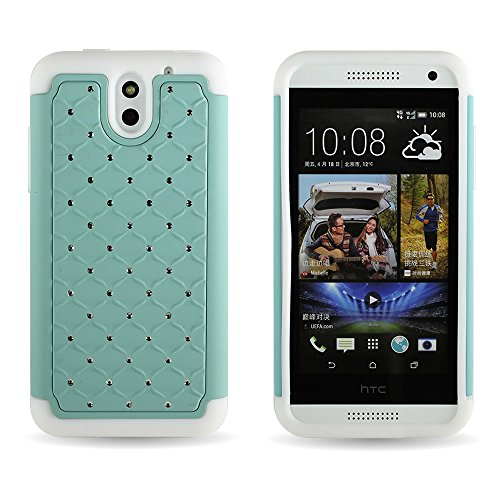 For HTC Desire 610 Phone by CoverON Studded Diamond Bling Hard & Soft Case Teal / White Rhinestone Dual Layer Hybrid Cover