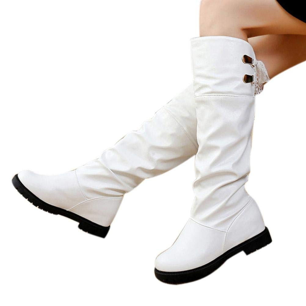 Hemlock Women Knee High Boots Soft PU Leather Boots Shoes Winter Snow Boots Wedges Booties Shoes by Hemlock